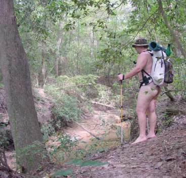 Impoverished Nude Hiker (can't afford boots)
